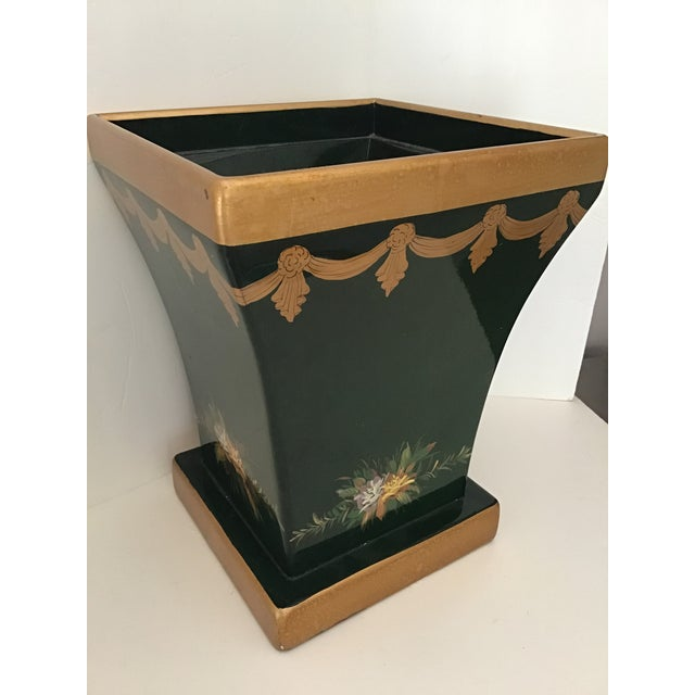 Maitland - Smith 20th Century Vintage French Tole Waste Basket For Sale - Image 4 of 7