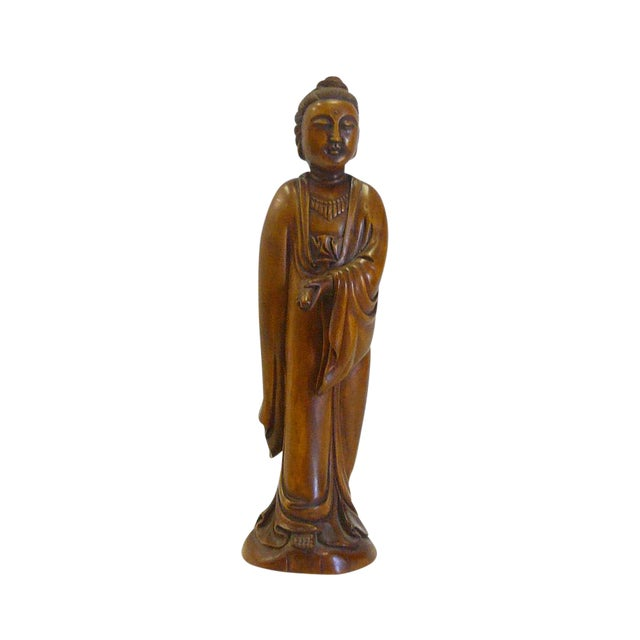 Chinese Boxwood Standing Scholar Kwan Yin Statue cs695-4 For Sale