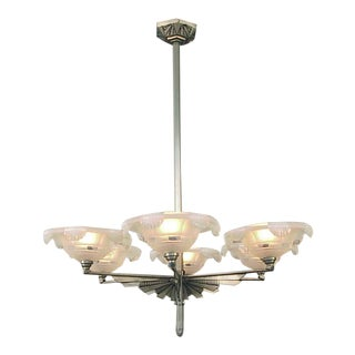 French Art Deco Sunburst Chandelier With 6 Opalescent Shades For Sale