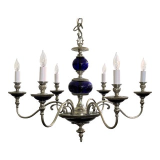 Antique French Cobalt Blue and Silver Bronze Chandelier, Circa 1900.