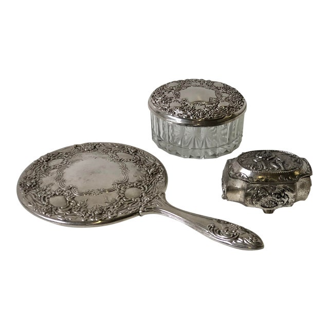 Three Piece Silverplate Dresser Set - Set of 3 For Sale