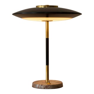 Elegant 1950s Italian Desk Lamp in Marble and Brass For Sale