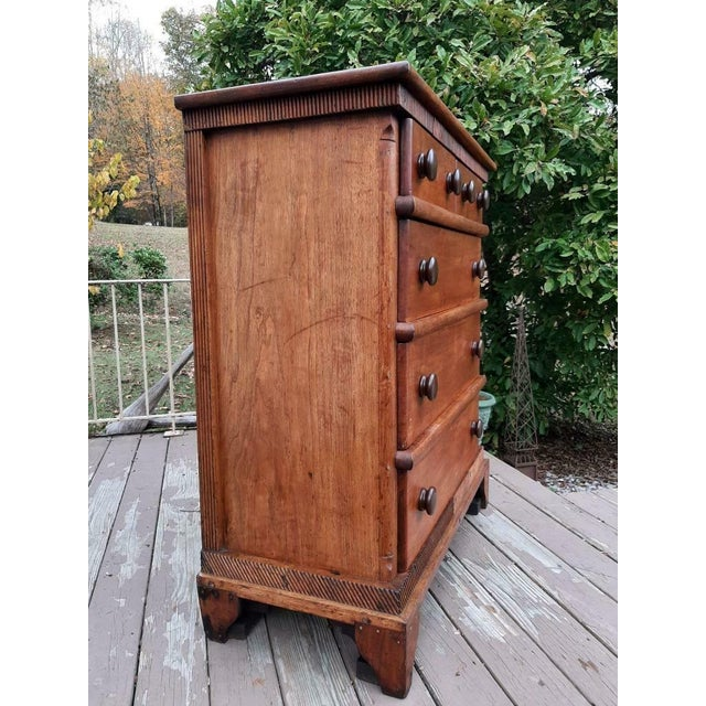 Late 1700's Early 1800's Antique Primitive Farmhouse Solid Chestnut Chest of 5 Drawers For Sale - Image 6 of 13