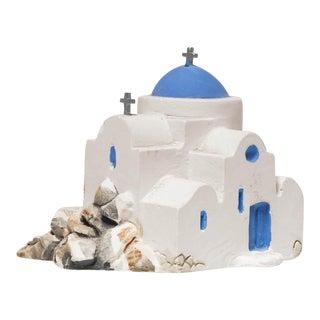 Miniature Ceramic Church Handmade in Mykonos, Greece For Sale