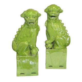 Lime Green Porcelain Sitting Foo Dog - aPair