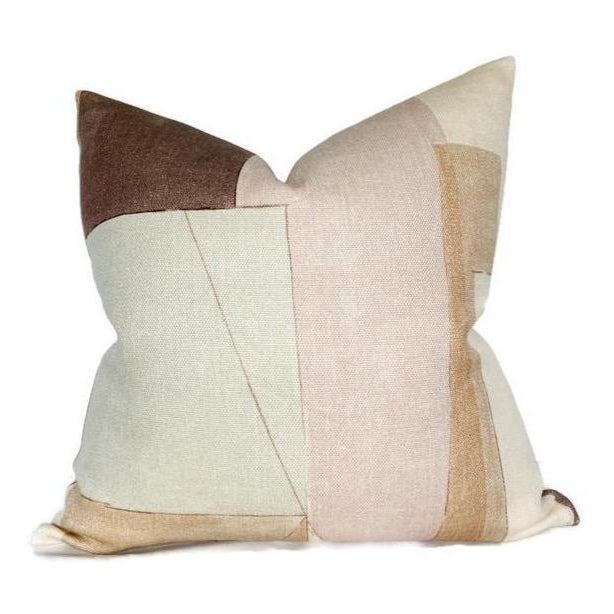 Abstract District Pillow Cover in Silt Brown For Sale - Image 3 of 3