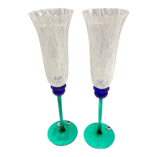 "Signed Opus ""Mardi Gras"" White Champagne Flutes - Set of 2 For Sale"