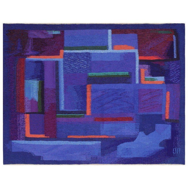 Textile Vintage Scandinavian Tapestry Rug by Eevahenna Aalto - 3′5″ × 4′6″ For Sale - Image 7 of 7