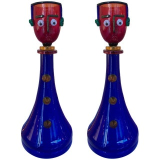Character Lamps by Fratelli Toso Murano Glass, Italy, 1960s - A Pair For Sale