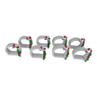 Vintage Porcelain Candy Cane Napkin Rings-8 Pieces For Sale