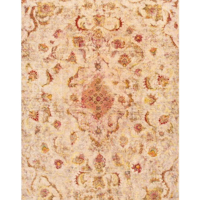 Traditional Antique Ivory Kerman Wool Rug For Sale - Image 3 of 6