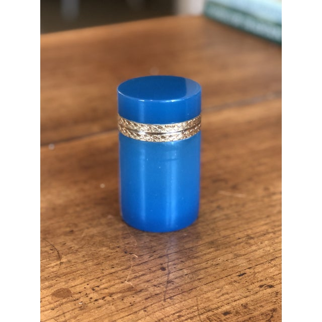 Metal 19th Century Blue Opaline Glass and Brass Cylindrical Box For Sale - Image 7 of 8