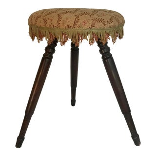 Antique Victorian 3-Legged Fringed Stool For Sale