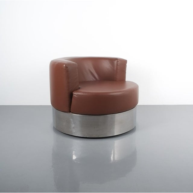 Franco Fraschini Brown Leather Chair for Driade, Italy, 1965 For Sale - Image 4 of 11