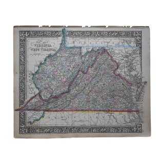 Antique Map of Virginia & West Virginia For Sale