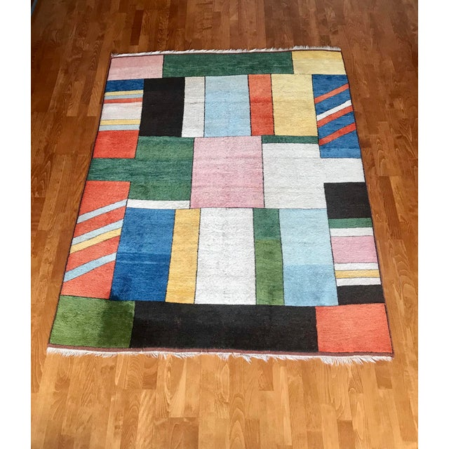 Colorful Turkish Rug, Home Decor, Area Rug 6.6*5.3 Ft. For Sale - Image 4 of 12