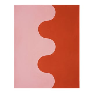 "Large ""Hairpin Serpentine in Fire Coral & Soft Pink"" Print by Stephanie Henderson, 41"" X 51"""