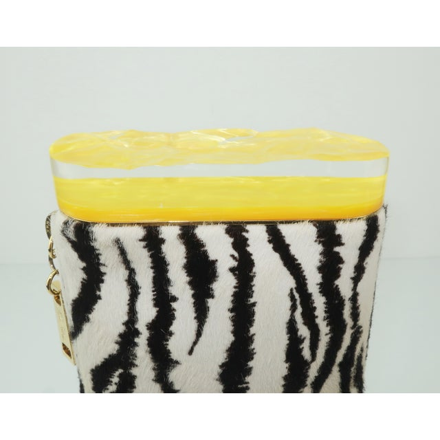 Black Edie Parker Zebra Print Calf Hair Clutch Handbag With Acrylic Details For Sale - Image 8 of 13