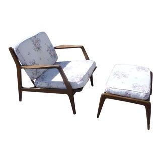 Mid-Century Modern Selig Arm Chair & Ottoman For Sale