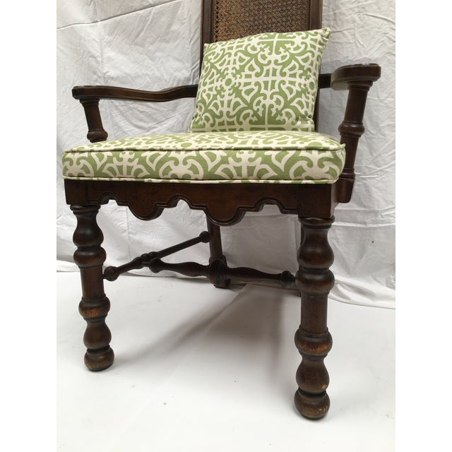French Oak Cane Back Upholstered Chairs - A Pair - Image 7 of 11