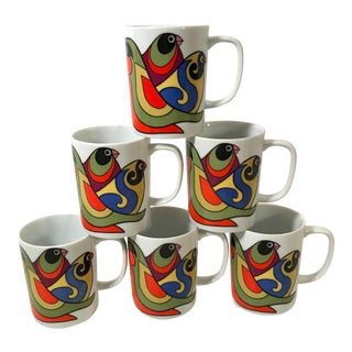 Vintage Fitz and Floyd Bird Motif Mugs - Set of 6 For Sale