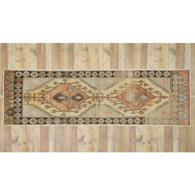 Taupe Vintage Turkish Oushak Runner - 3′7″ × 11′7″ For Sale - Image 8 of 10