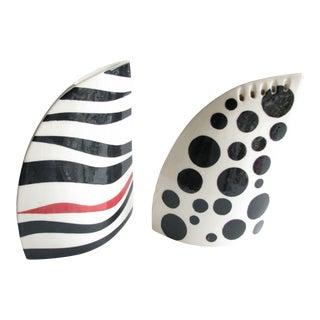 Mid 20th Century Handmade Ceramic Shark Fin Shaped Vases - a Pair For Sale