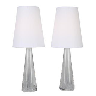 1960S vintage VICKE LINDSTRAND FOR KOSTA SOLID GLASS LAMPS- a pair For Sale