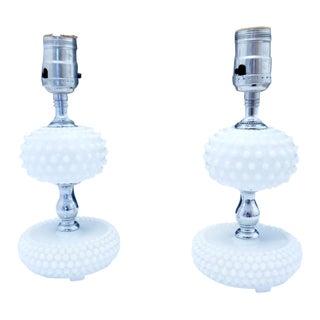Fenton Hobnail Milk Glass Lamps - a Pair For Sale
