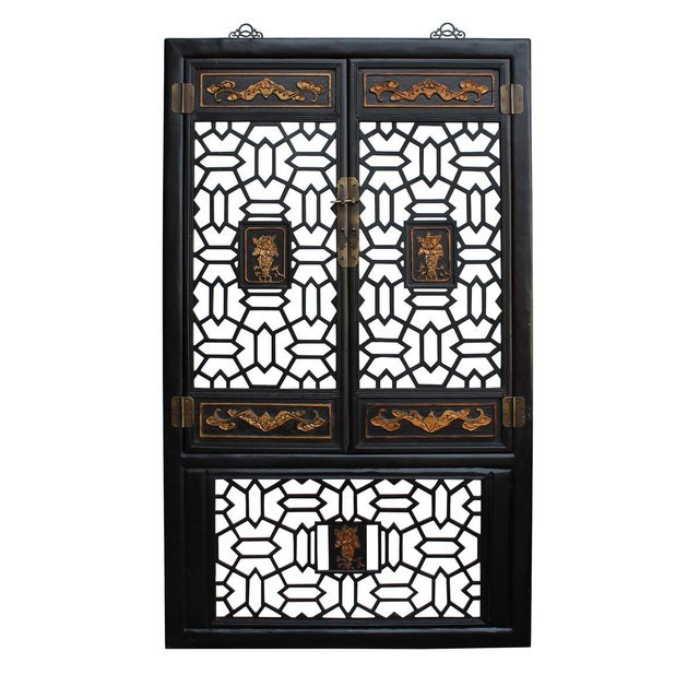 Chinese Golden Floral Carving Wall Panel Screen For Sale