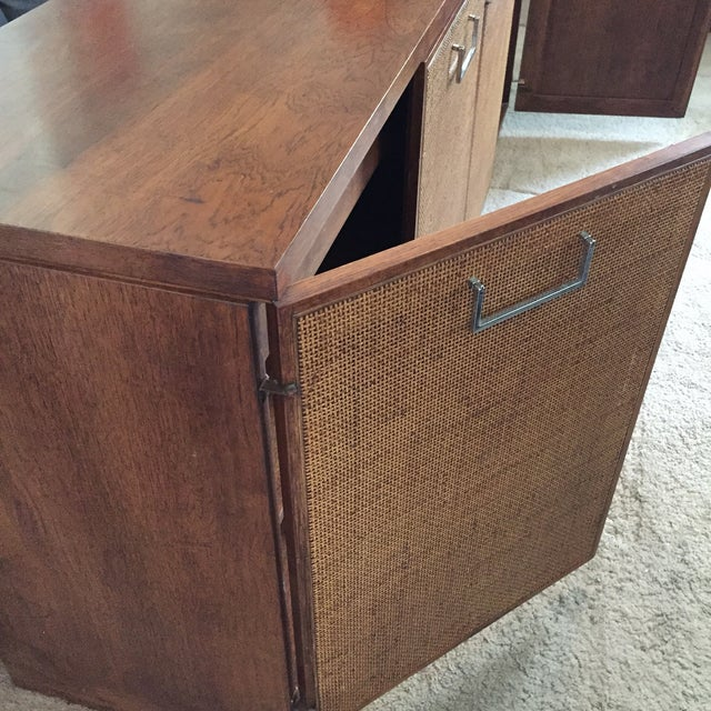 Brown Founders Style Mid-Century Cane & Walnut Buffet For Sale - Image 8 of 11