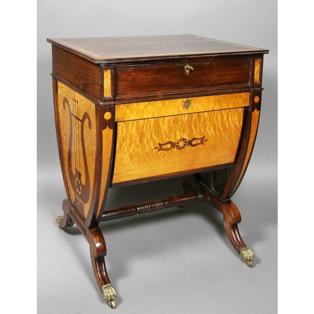 Unusual Regency Rosewood and Bird's-Eye Maple Music Table For Sale - Image 9 of 9