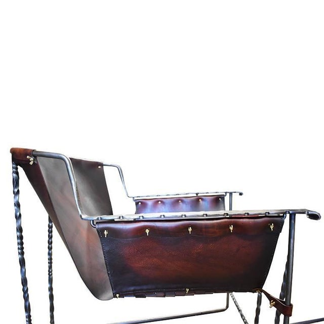 Custom Steel and Leather Hand-Forged Black and Brown Handmade Sling Chairs - a Pair For Sale - Image 11 of 12