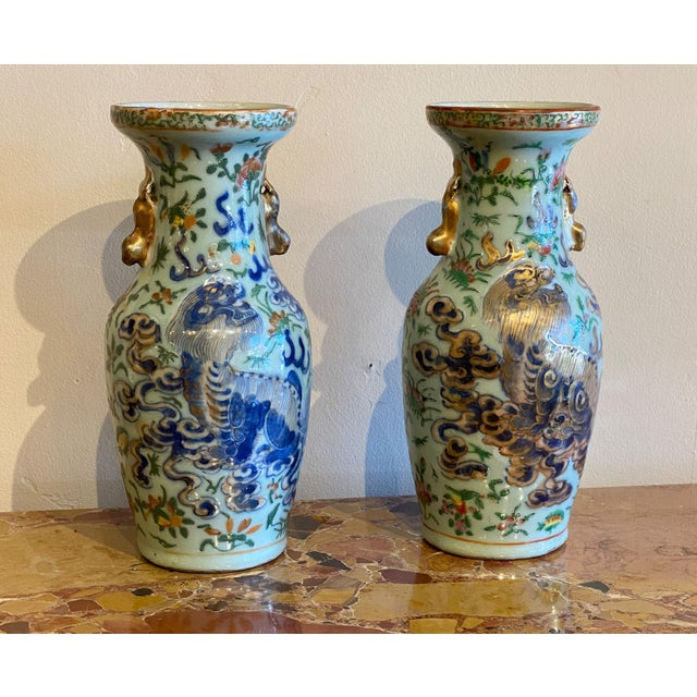 19th Century Antique Chinese Foo Lions Vases-a Pair For Sale In Dallas - Image 6 of 8