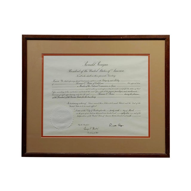 Ronald Reagan Signed Presidential Appointment to Thomas Paine for Space Commission For Sale