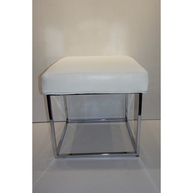 Metal 1970s Mid Century Modern Milo Baughman for Design Institute of America Cube Chrome Ottoman For Sale - Image 7 of 8