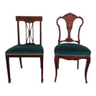 Early 19th Century Hand Painted & Inlaid Chairs- a Pair For Sale