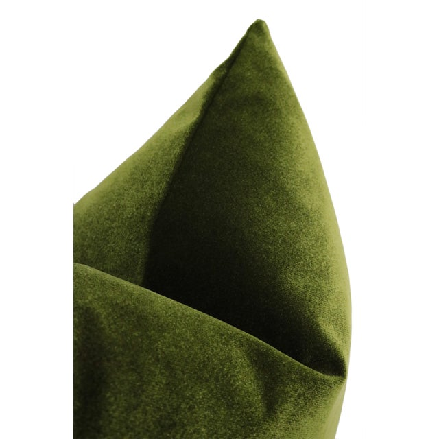 "22"" Olive Velvet Pillows - a Pair For Sale - Image 4 of 5"