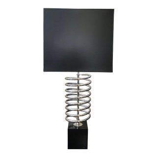 Laurel Vintage Industrial Chrome Coil Lamp (Shade Included) For Sale