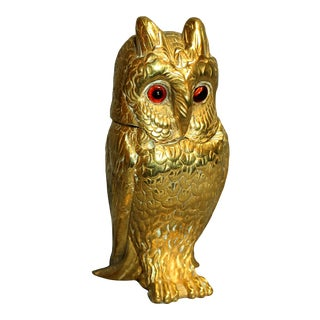 Late 19th Century English Brass Owl Inkwell For Sale