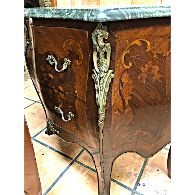 French Marquetry Inlay and Marble Top Commodes - a Pair For Sale In Miami - Image 6 of 13