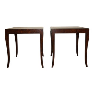 Art Deco William Switzer Carpathian Burled Elm Side Tables - a Pair For Sale