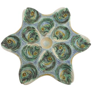 19th Century Majolica Palissy FishHeads Oyster Plate