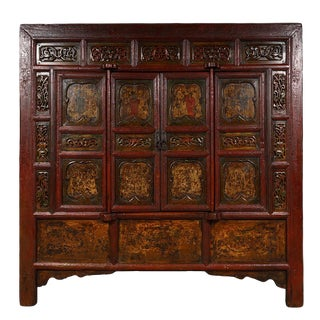19th Century Chinese Carved Red Lacquered Temple Armoire For Sale