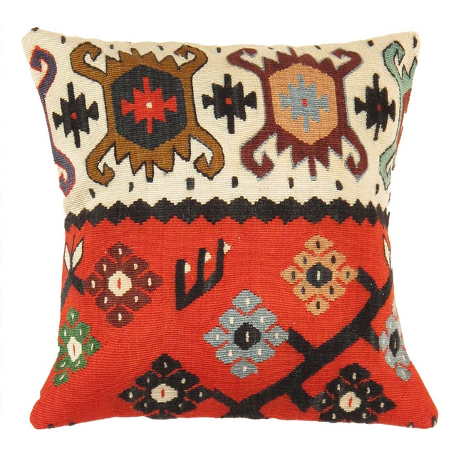Red And Cream Pasargad Vintage Kilim Pillow - Image 1 of 2