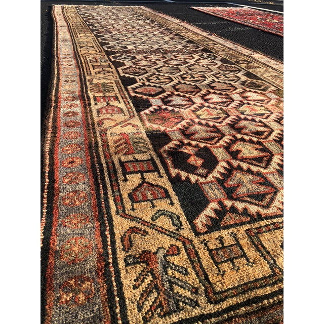 1950s Vintage Persian Meshkin Runner Rug - 3′10″ × 13′2″ For Sale - Image 4 of 13