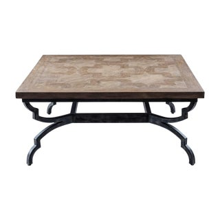 Traditional Parquet Top on Iron Base Coffee Table For Sale