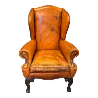 Late 19th Century Leather Chippendale Wingback Chair, British Tan For Sale