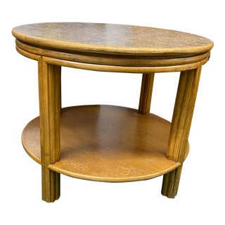 1960s McGuire Round Bamboo Two Tier Side Table For Sale