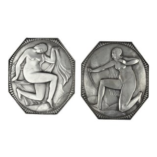 Silvered Bronze Deco Plaques - A Pair For Sale
